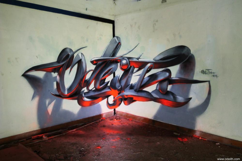 Odeith-Anamorphic-3d-graffiti-orange-fluor-light-lisboa-portugal