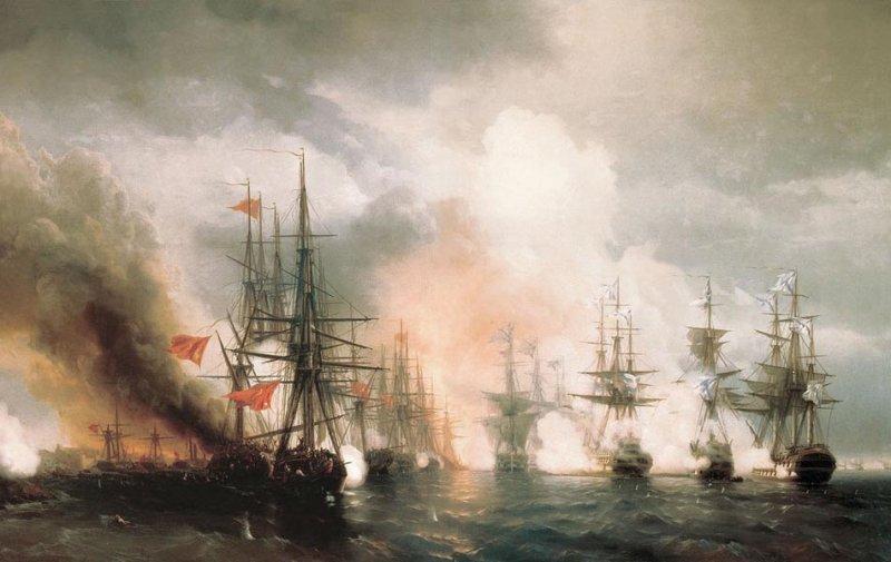 Картина Айвазовского Синопский бой