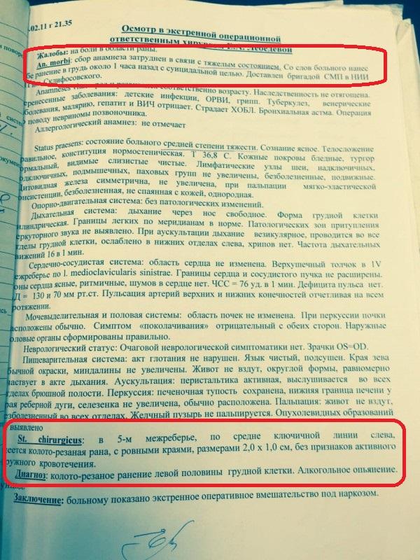 Медицинские документы Григория Родченкова. Суицид на почве алкоголя и