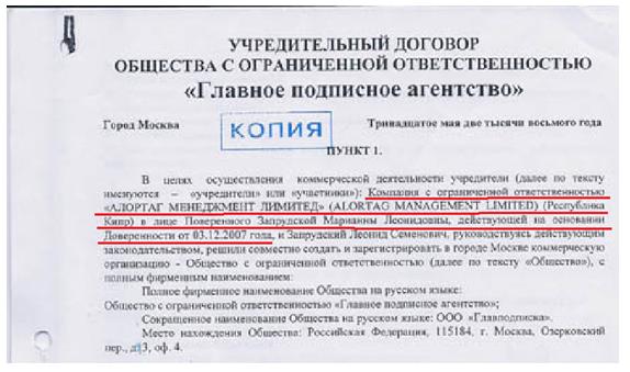усредительный договор почты с оффшором