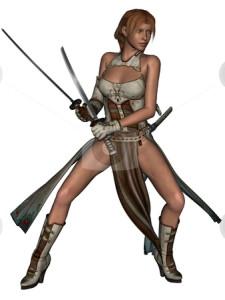 cutcaster-photo-100405656-Fighting-woman-samurai-with-katana