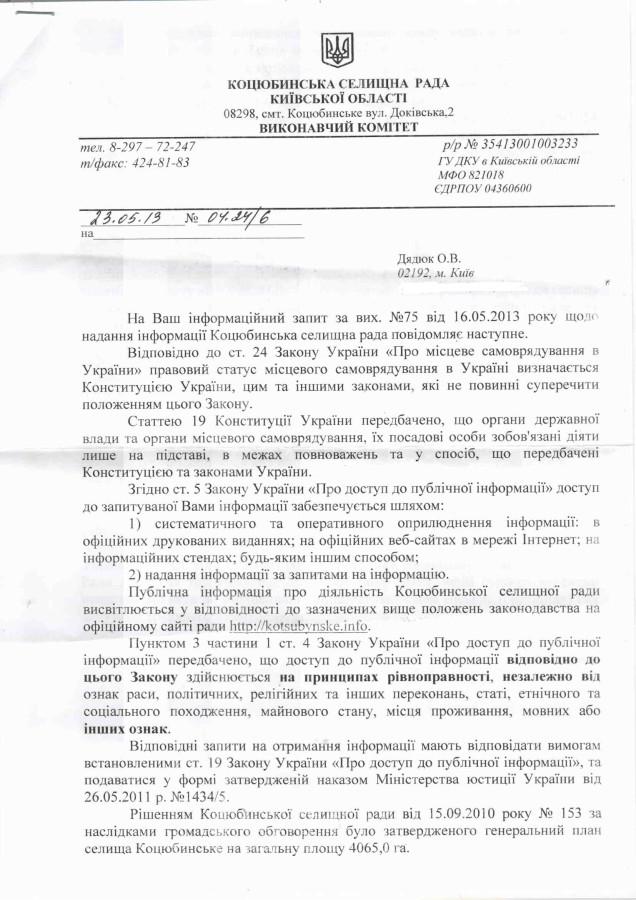Лист Коцюбинської с.р.