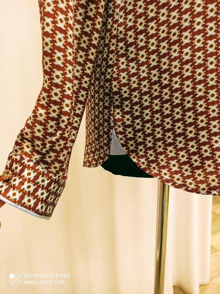 Обработка шелковой блузки