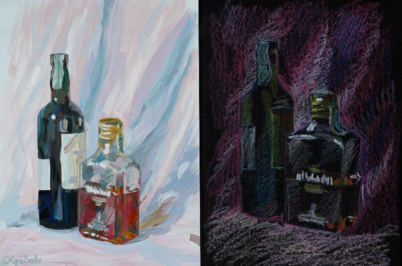 Тема: бутылки с натуры (мое)