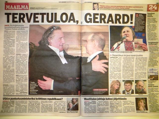 депардье и путин в финской газете