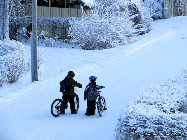 02 дети на зимних велосипедах