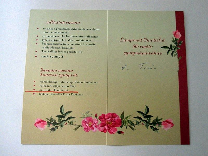Из поздравительной финской открытки выяснилось, что мы с самым забавным финским политиком, Тимо Сойни, одногодки