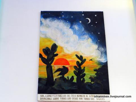 23 картина солнце и луна над океаном, черепахи, игуаны, кактусы и птицы
