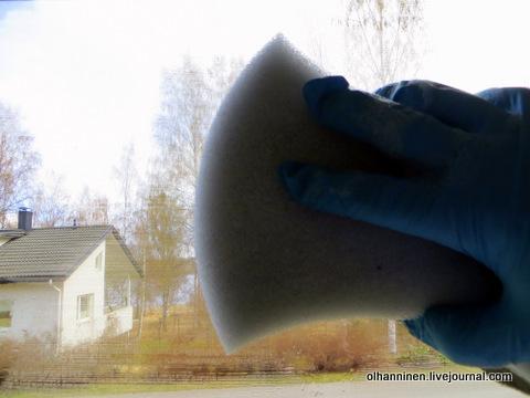 10 мягкой стороной смоченной в моющем средстве губки
