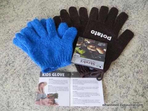 01 перчатки скрабовые синие и коричневые