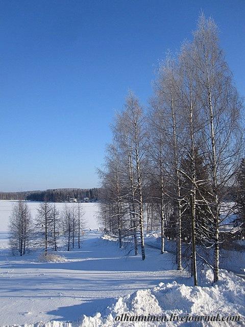Озеро Уннукка зимой в районе Варкауса