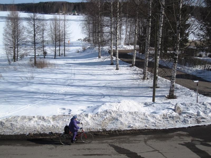 Вот как с балкона выглядит моя саночная дорога к озеру