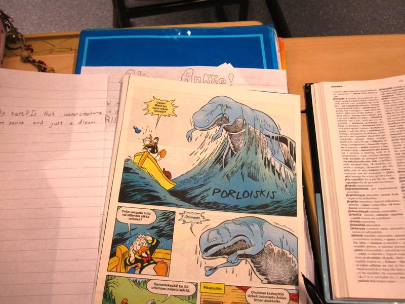 На одном уроке дети переводили комикс с финского на английский
