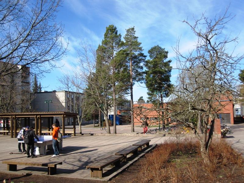 Школьный двор, разделяющий две школы