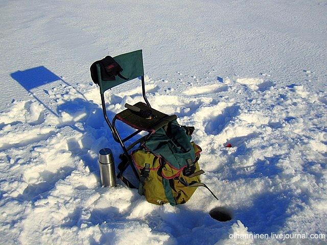 Специальное сиденье-рюкзак для зимней рыбалки