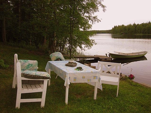garden table near lake