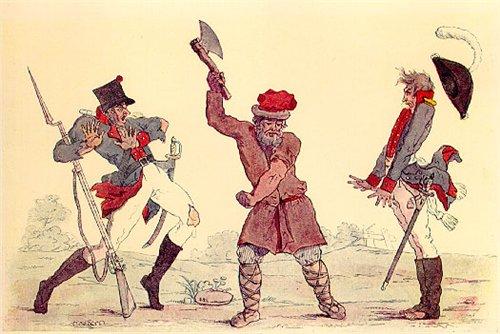На карикатуре И.И. Теребенева Руской Сцевола обалдевшие французы, 1812 год