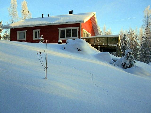 дом вид зимой
