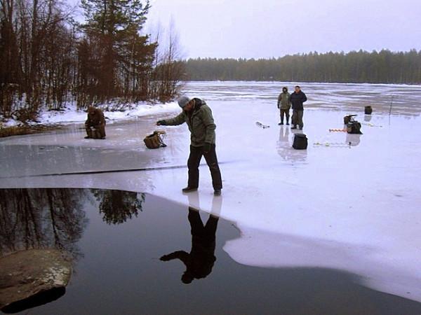 рыбалка на краю льдины
