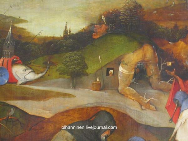 И. Босх. Искушение святого Антония.1505—1506. Фрагмент боковой створки триптиха. Национальный музей древнего искусства, Лиссабон