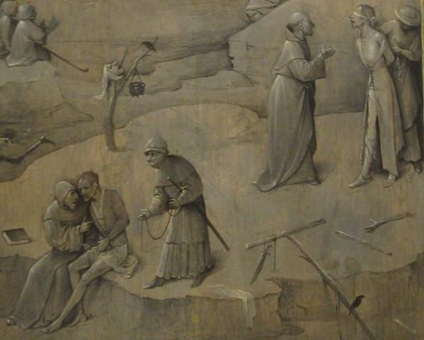 И. Босх. Искушение святого Антония.1505—1506. Фрагмент задней стенки боковой створки триптиха. Национальный музей древнего искусства, Лиссабон