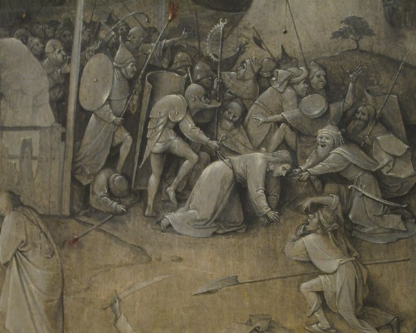 И. Босх. Искушение святого Антония.1505—1506. Фрагмент обратной стороны  центральной части триптиха. Национальный музей древнего искусства, Лиссабон