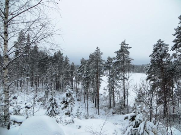 озеро замерзло