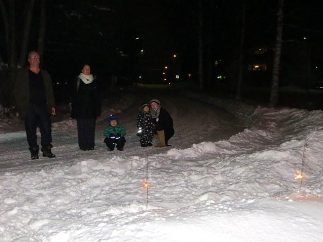 дети и взрослые смотрят на фейерверки