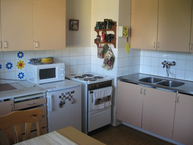Старая кухня была сломана подчистую, до стен