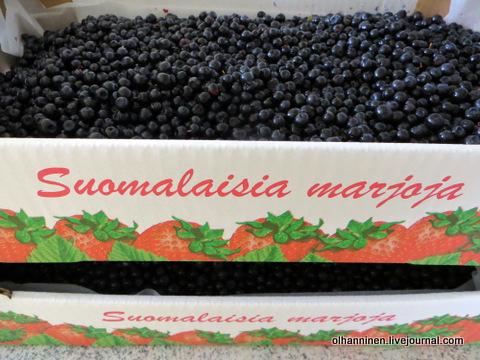 1-ящик черники с надписью финская ягода