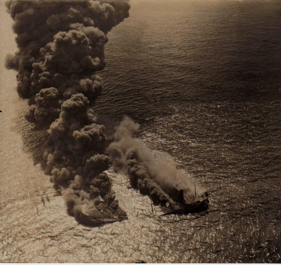 Tanker sunk off the VA coast, 1942