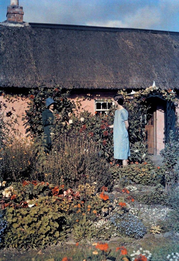 Две женщины разговаривают в саду возле дома.