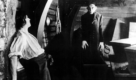 Orlok rises from his coffin on the boat in Nosferatu