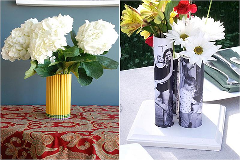 Ваза для цветов из подручных материалов