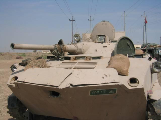 БМД-1 со следом от поподания снаряда в лоб корпуса