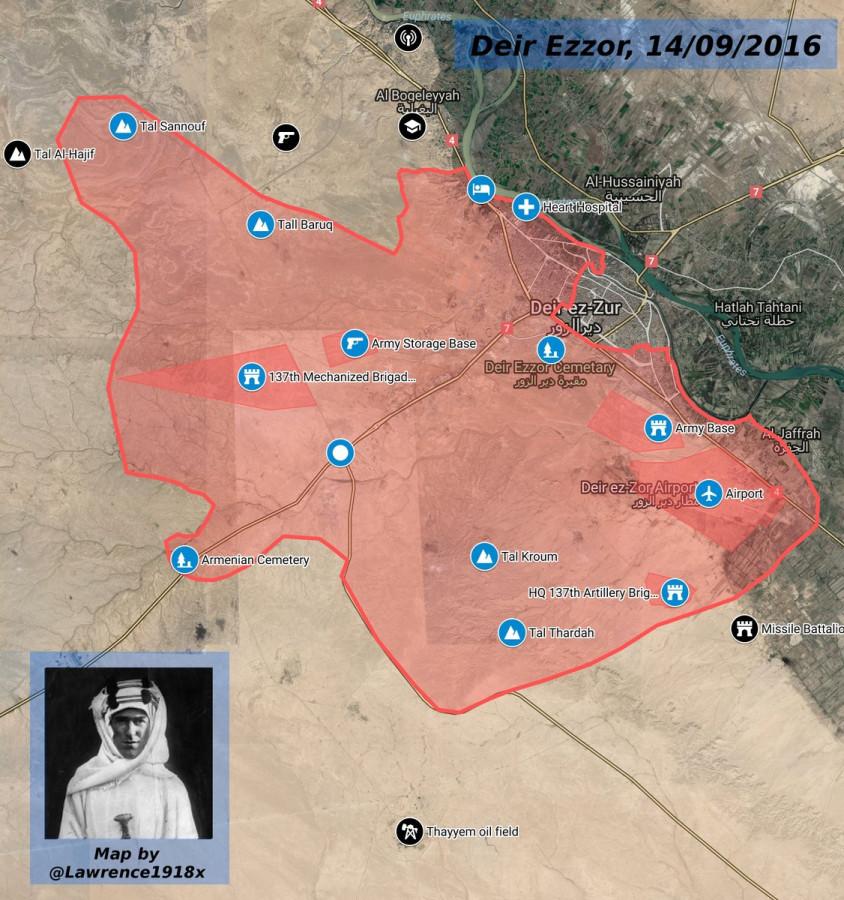 Новая карта обстановки в Сирии, после того как САА освободили Тал Сануф (под Дейр-эз-Зором) 14.09.2016