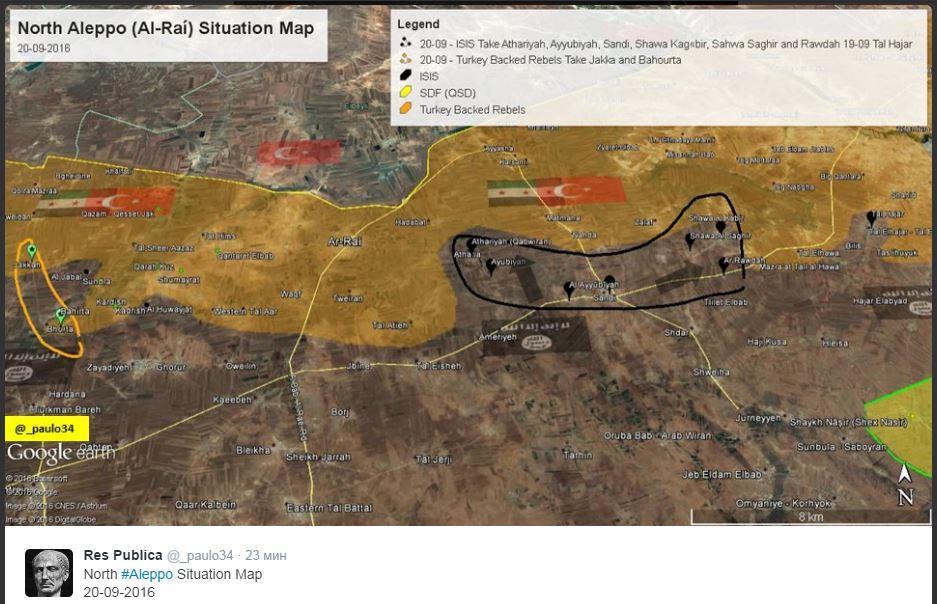 2016.09.20 твиттер Res Publica Карта боевых действий на севере Алеппо (г. ар-Раи) на 20.09.JPG
