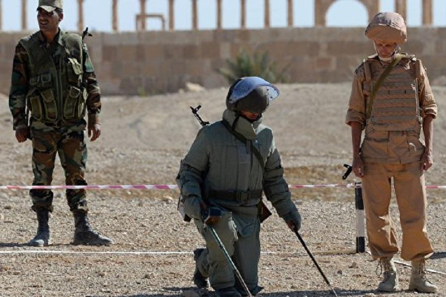 Сирия, онлайн, сапер, война, Российский военнослужащий (справа) обучает сирийского сапёра в Пальмире