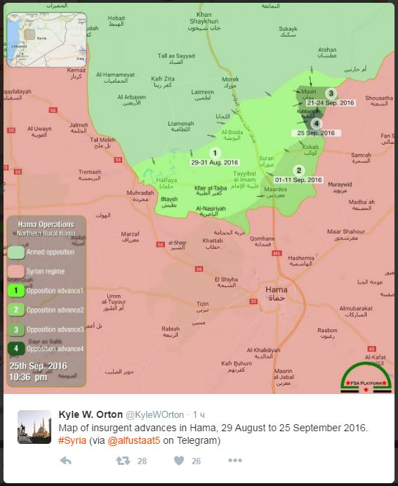 2016.09.26 12.20 твиттер KyleWOrton Карта продвижения джихадистов к северу от города Хамы