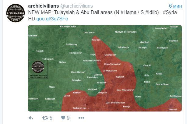 2016.09.27 20.44 Новая карта. Север пров. Хама, юг пров. Идлиб. Сирия