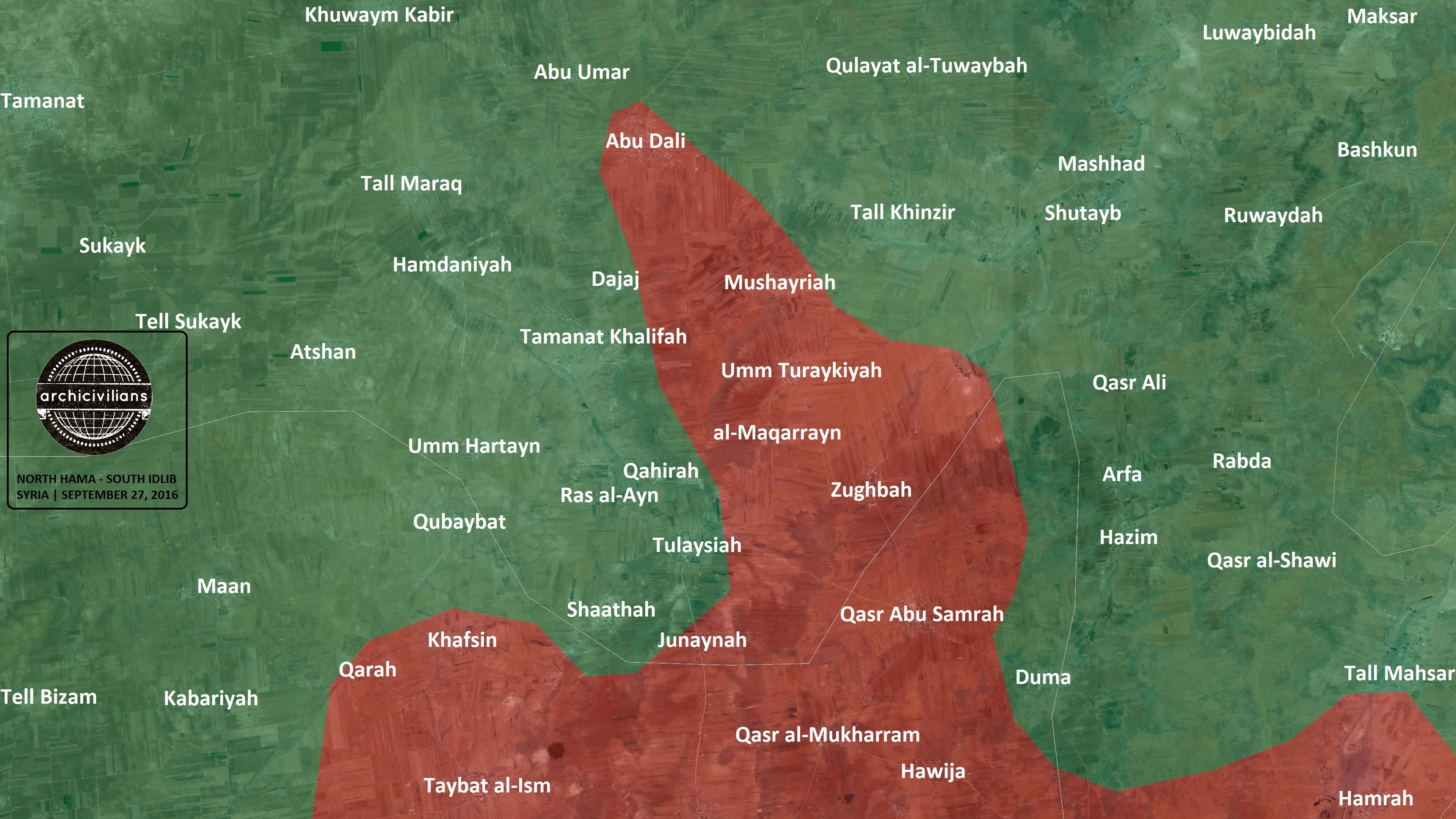 2016.09.27 карта Север пров. Хама, юг пров. Идлиб. Сирия. Правительственные войска -- красные, мятежники -- зелёные.jpg