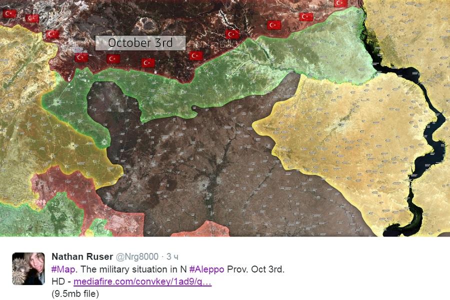 2016.10.03 твиттер Nrg8000 Карта военной обстановки на севере провинции Алеппо на 3 октября.jpg