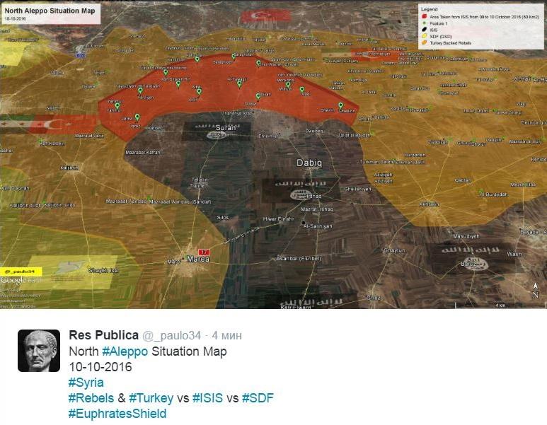 Сирия, Алеппо, мятежники и Турция против ИГИЛ, Демократические силы Сирии, Щит Евфрата