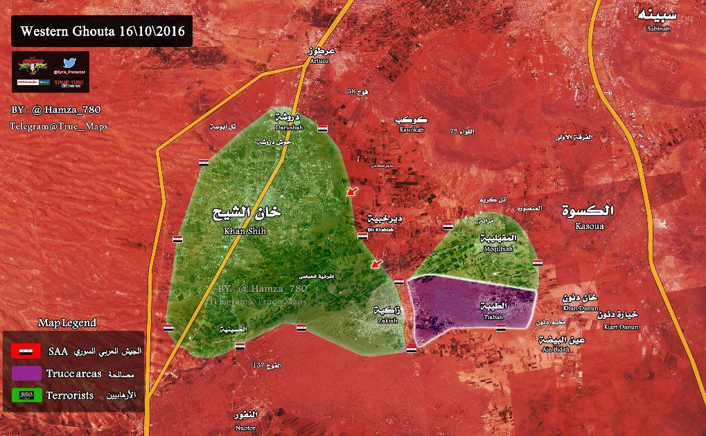 Сирия, карта, Западная Гута, Дамаск, наступление, САА
