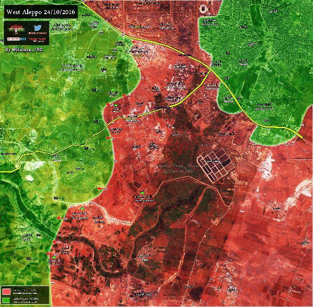 Сирия, Алеппо, карта боевых действий, 24 октября