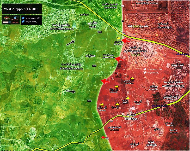 2016.11.08 12.45 Almasdar Обновление карты военных действий на юго-западе Алеппо. Сирия, карта