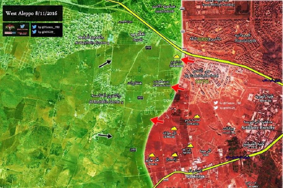 Almasdar, Сирия, Алеппо, карта, 8 ноября, 2016.11.08, САА, КСИР, Хезболла, ДАФ