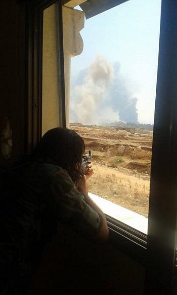 Бой в районе артиллерийского училища на юго-западе Алеппо Сирия