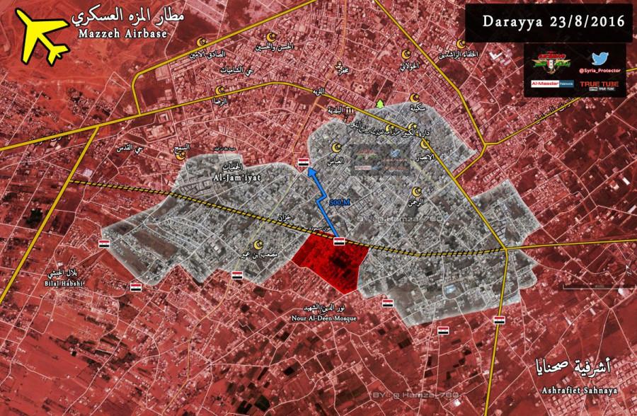 Сирия, Дарайя, ИГИЛ, САА, август, карта