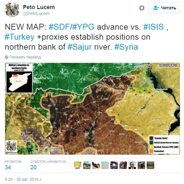 2016.08.30 08.29 Peto Lucem Карта продвижения SDF и YPG на территорию ИГИЛ, Турция закрепилась на северном берегу р. Саджур (Сирия)